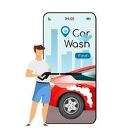Car wash cartoon smartphone vector app screen. Mobile phone display with flat character design mockup. Self service auto cleaning. Carwash stations searching application telephone interface