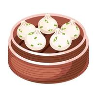 Chinese dim sum color icon. Asian small bite buns in basket. Eastern traditional cuisine. Steamed dish with different fillings. Dumpling with meat, vegetables, spices. Isolated vector illustration