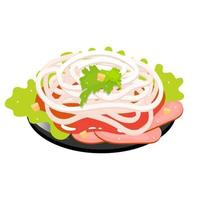 Sliced pork with sweet onions color icon. Asian side dish, salad. Eastern traditional cuisine. Pekin duck with seasoning. Chineese food with meat and vegetables. Isolated vector illustration