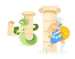 Perseus and Medusa flat vector illustration. Hero fighting fantastical creature. Half-woman, half-serpent monster. Greek mythology. Fight scene isolated cartoon character on white background