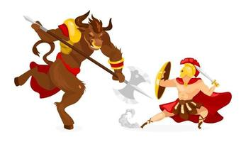 Theseus and Minotaur flat vector illustration. Greek mythology. Ancient story and legend. Hero fighting mythological creature. Warrior with sword isolated cartoon character on white background