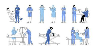 Doctors flat vector illustrations set. General practitioners, therapists, surgeons isolated cartoon characters on white. Resuscitation, first aid and surgical operation. Medicine and healthcare