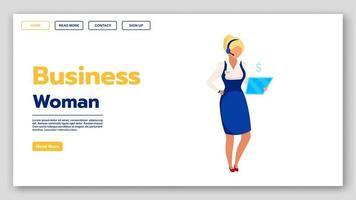 plantilla de vector de página de destino de mujer de negocios. idea de interfaz de sitio web de emprendimiento femenino con ilustraciones planas. diseño de la página de inicio de la empresa corporativa. centro de llamadas, concepto de dibujos animados de banner web de línea directa