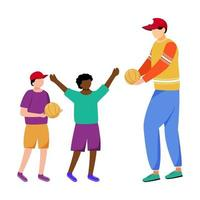 Humanitarian help for children flat vector illustration. Community service worker and kids isolated cartoon characters on white background. Volunteer delivering supplies, donations for orphanage