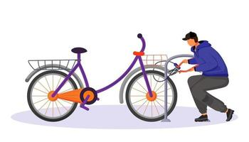 Guy stealing bicycle attached to bike rack flat color vector faceless character. Bike theft. Thief cutting cycle lock buy bolt cutter. Isolated cartoon illustration