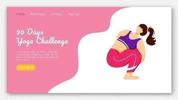 30 days yoga challenge landing page vector template. Active and healthy lifestyle. Bodypositive website interface idea with flat illustrations. Homepage layout, web banner, webpage cartoon concept
