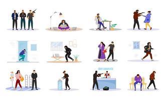 Conjunto de caracteres sin rostro de vector de color plano de criminales. agrupación criminal. ladrones de casas. corrupción. robo a mano armada. robo de propiedad. carterista. delincuentes aislados ilustraciones de dibujos animados sobre fondo blanco