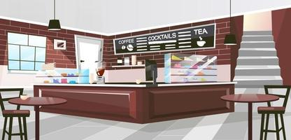 Retro restaurant inside flat vector illustration. Vintage wooden furniture in spacious hall. Brown counter with coffee machine, glass showcases. Cartoon cafe interior with chalk board for drinks menu