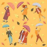 personas con paraguas vector plano de patrones sin fisuras. fondo naranja. ropa de temporada. textura de hojas de otoño con iconos de colores de dibujos animados. Papel de regalo para clima lluvioso y ventoso, diseño de papel tapiz