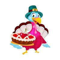 Thanksgiving day flat vector illustration. Turkey with traditional hat. Fall annual holiday celebration. Pilgrims turkey with cherry pie isolated cartoon character on white background