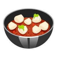 Japanese soup with spicy tofu color icon. Asian dish in black bowl. Eastern traditional restaurant cuisine. Chinese homemade food. Restaurant cooking recipe. Isolated vector illustration