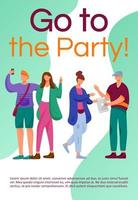 Go to the party brochure template. Teenager culture. Flyer, booklet, leaflet concept with flat illustrations. Vector page cartoon layout for magazine. Advertising invitation with text space
