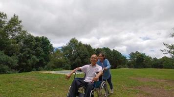 Happy smiling grandfather in wheelchair relaxing with his arms raised enjoying the nature with granddaughter on a sunny day in the park. Family life on vacation. video