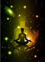 man meditate dark black abstract background, yoga. ray. beam. Buddhist Hindu meditation. vector