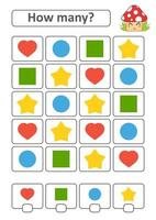 Game for preschool children. Count as many fruits in the picture and write down the result. Heart, circle, square, star. With a place for answers. Simple flat isolated vector illustration.
