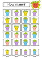 juego de conteo para niños en edad preescolar para el desarrollo de habilidades matemáticas. cuántas macetas de flores. con un lugar para las respuestas. Ilustración de vector aislado plano simple.