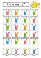 juego de conteo para niños en edad preescolar para el desarrollo de habilidades matemáticas. cuántas bebidas de diferentes colores. con un lugar para las respuestas. Ilustración de vector aislado plano simple.