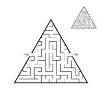 A triangular labyrinth, a pyramid with a black stroke. A game for children. Simple flat vector illustration isolated on white background. With the answer.