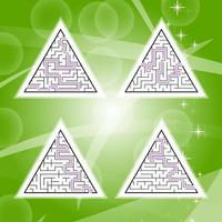 A set of four triangular labyrinths with a black stroke. A game for children. A simple flat vector illustration isolated on a colored background. With the answer.