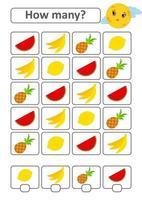 juego de conteo para niños en edad preescolar para el desarrollo de habilidades matemáticas. cuántas frutas tropicales. con un lugar para las respuestas. Ilustración de vector aislado plano simple.