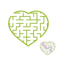 Labyrinth with a green stroke. Lovely heart. A game for children. Simple flat vector illustration isolated on white background. With the answer.