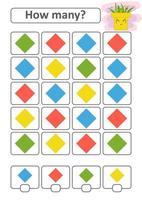 juego de conteo para niños en edad preescolar para el desarrollo de habilidades matemáticas. cuántos diamantes de diferentes colores. con un lugar para las respuestas. Ilustración de vector aislado plano simple.