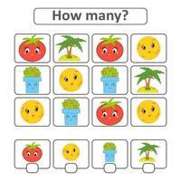 juego de conteo para niños en edad preescolar para el desarrollo de habilidades matemáticas. cuente el número de objetos en la imagen. con un lugar para las respuestas. Ilustración de vector aislado plano simple.