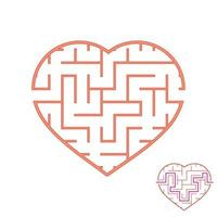 Labyrinth with a red stroke. Lovely heart. A game for children. Simple flat vector illustration isolated on white background. With the answer.