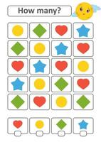 Game for preschool children. Count as many fruits in the picture and write down the result. Heart, diamond, circle, star. With a place for answers. Simple flat isolated vector illustration.