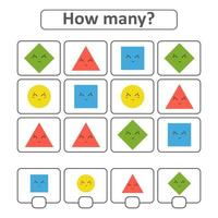 Game for preschool children. Count as many geometric shapes in the picture and write down the result. With a place for answers. Simple flat isolated vector illustration.