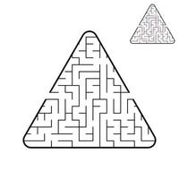 Triangular labyrinth. An interesting and useful game for children. A simple flat vector illustration on a white background. With the decision.