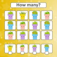 Game for preschool children. Count as many flower pots in the picture and write down the result. With a place for answers. Simple flat isolated vector illustration.
