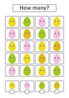 juego de conteo para niños en edad preescolar para el desarrollo de habilidades matemáticas. cuántos huevos de diferentes colores. con un lugar para las respuestas. Ilustración de vector aislado plano simple.