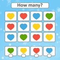 Game for preschool children. Count as many hearts in the picture and write down the result. With a place for answers. Simple flat isolated vector illustration.