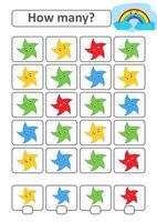 juego de conteo para niños en edad preescolar para el desarrollo de habilidades matemáticas. cuántas estrellas de diferentes colores. con un lugar para las respuestas. Ilustración de vector aislado plano simple.