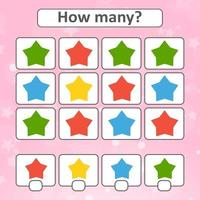 Game for preschool children. Count as many stars in the picture and write down the result. With a place for answers. Simple flat isolated vector illustration.
