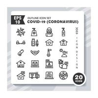 Set of outline icons about Coronavirus Covid-19. Contains such Icons as virus, hospital, ambulans, vaksin, mask. Editable vector