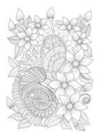 Hand-drawn flower coloring page. Flower line illustration vector floral tattoo