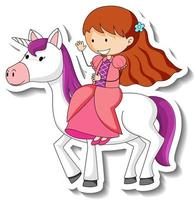 Cute stickers with a little princess riding a unicorn cartoon character vector