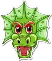 Face of green dragon cartoon character sticker vector