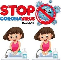Stop Coronavirus banner with a girl washing hands on white background vector