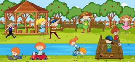 Outdoor scene with many kids playing in the park vector