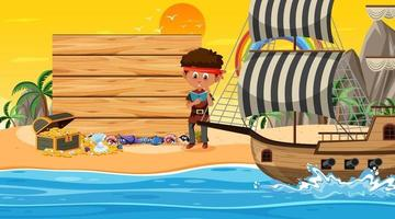 Empty banner template with pirate boy at the beach sunset scene vector