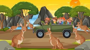 Safari at sunset time scene with children watching kangaroo group vector