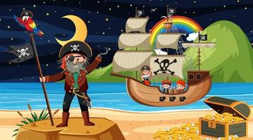 Beach with Pirate ship at night scene in cartoon style vector