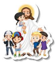 Jesus Christ with children group sticker on white background vector