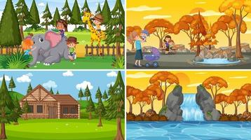 Set of different nature scenes cartoon style vector