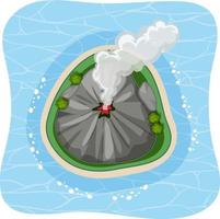 Aerial view of volcano island with smoke isolated vector
