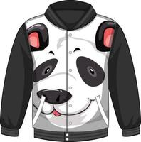 Front of bomber jacket with panda pattern vector