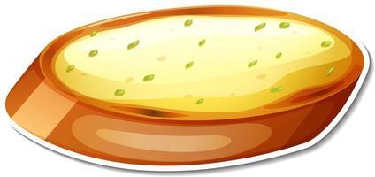 Garlic bread sticker on white background vector